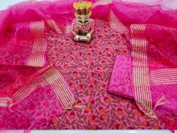 Exclusive magenta rose floral print chanderi suit with organza dupatta