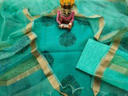 Aquamarine green chanderi silk suit with organza dupatta for ladies
