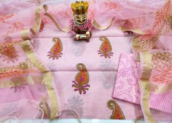 Pink mugal print organza Chanderi dupatta suit set