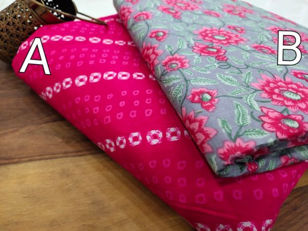 Magenta rose and Lavender cotton running material set