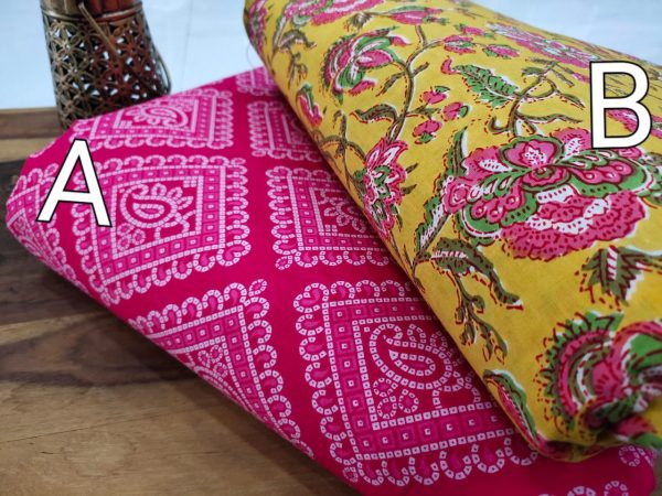 Exclusive magenta rose and yellow cotton running materiel set