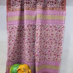 Pink floral print Cotton mulmul saree with blouse