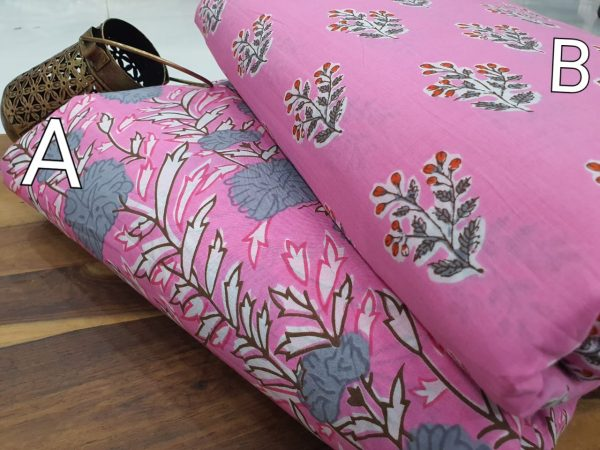 Pink bagru print pure cotton running material set