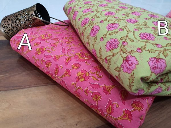 Pink And Chartreuse green floral print running material set
