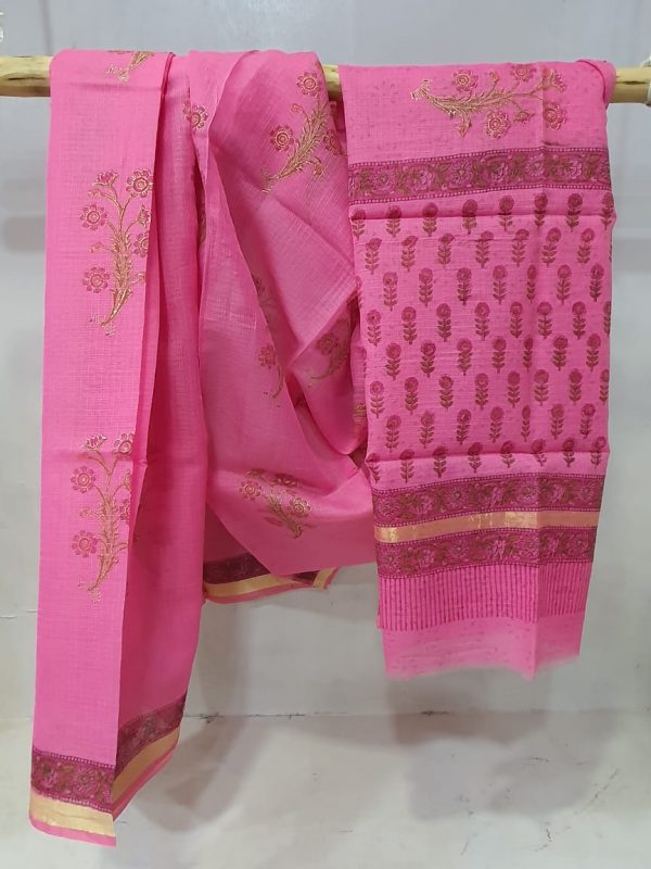 Bagru print Pink kota doria saree With blouse