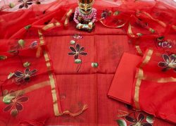 Red floral mugal print chanderi silk suit with organza dupatta