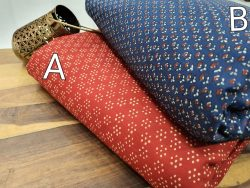 Crimson red and blue Pigment print Pure cotton runnning material set