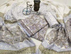White floral Rapid print cotton dupatta set