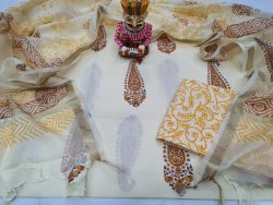 White mugal print Cotton suit with kota silk dupatta set
