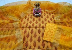 Yellow bagru print organza Chanderi dupatta suit set
