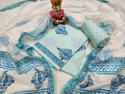 Baby blue and white pure cotton suit set