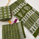 Dull green cotton dupatta suits wholesale