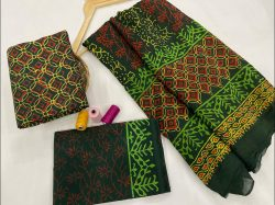 Green cotton dupatta suits With dupatta online