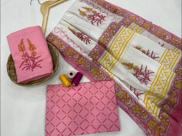 pink and white cotton suit with cotton dupatta