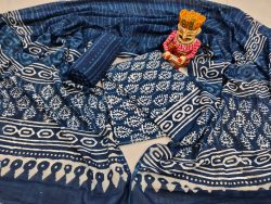 jaipuri blue pure cotton indigo dabu print mulmul dupatta suit set