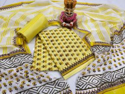 Yellow and White floral print pure cotton dupatta suit set