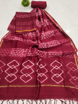 Burgundy Chanderi suit set with salwaar