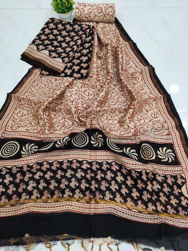 Office wear Superior quality Black And Beige chanderi suit set