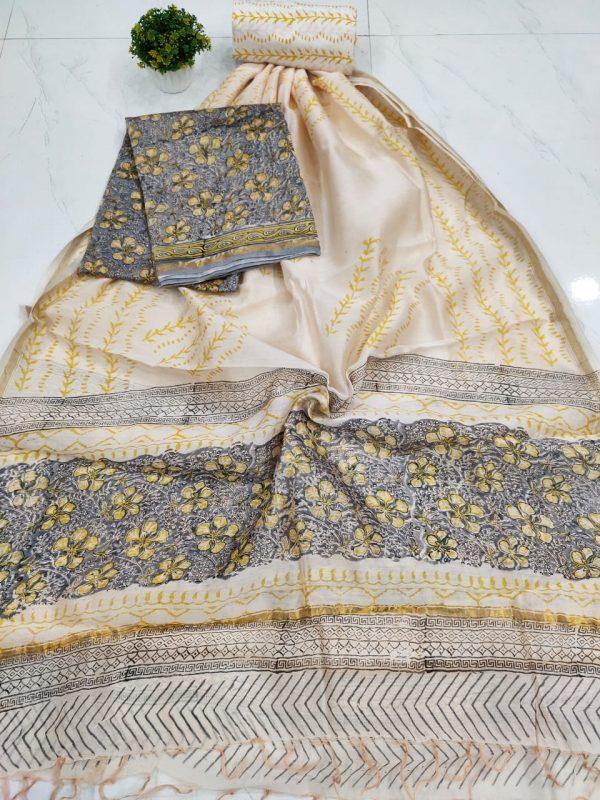 white floral print chanderi suit set with salwaar