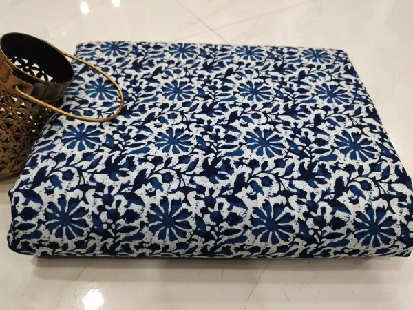 Blue white pure cotton running Material set