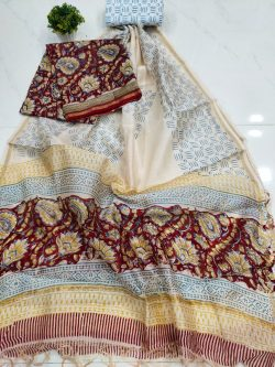 Burgundy and white Pure chanderi suit set with salwar