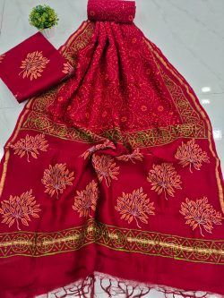 Red crimson Pure chanderi suit set with salwar