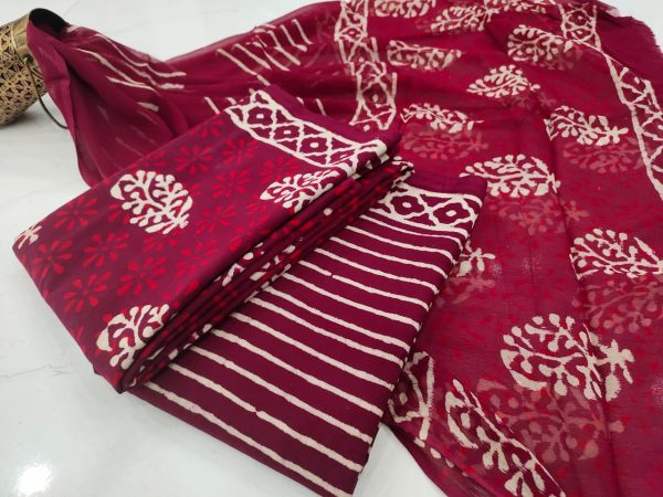 Rouge bagru print pure chiffon cotton suit set