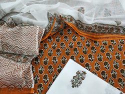jaipuri Amber and White pure Cotton suit kota doria dupatta set