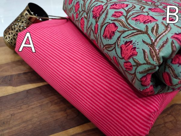Teal and pink pure cotton running material set