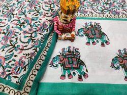 Jaipuri Light Sea Green And White Cotton double size bedsheet 90/108 inch with two pillow
