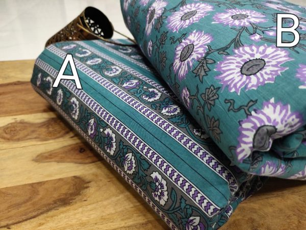 Exclusive Teal floral print pure cotton running Material set