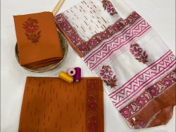 White And pink cotton dupatta suits wholesale