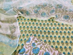 Exclusive green and White pure pure Cotton suit kota doria dupatta set