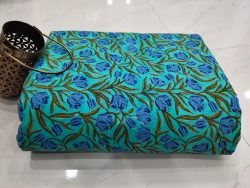 Superior quality cyan floral print pure cotton running material set