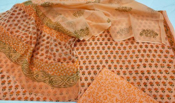 Champagne Floral print pure Cotton suit kota doria dupatta