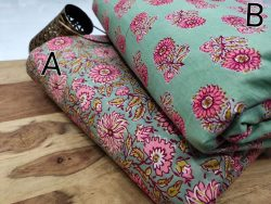 Steel Teal floral print pure cotton running material set