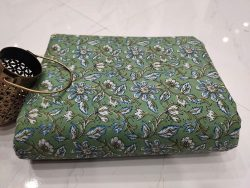 Emerald floral rapid print pure cotton running material