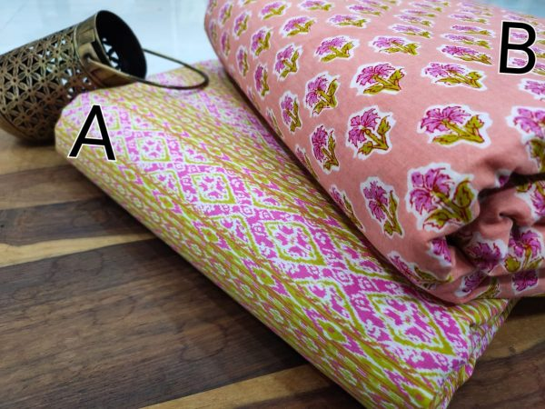 Apricot and Multicolor floral print pure cotton running material set