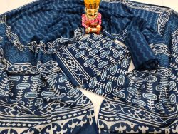 Cobalt blue indigo dabu print pure cotton suit set
