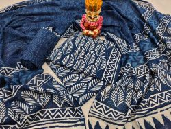 Navy blue indigo dabu print pure cotton suit set
