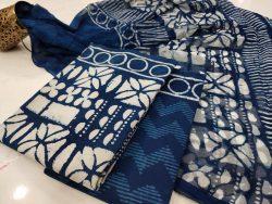 Beautiful blue Pure chiffon cotton dupatta suit set