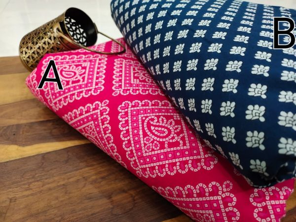Magenta Rose and blue pure cotton running material set