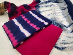 Unstitched pink and blue Pure chiffon cotton dupatta suit set