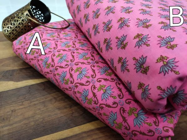 Pink floral print pure cotton running material set