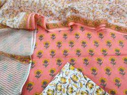 Apricot floral print pure Cotton suit kota doria dupatta