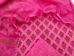 Pink pigment print cotton suit with kota doria dupatta set