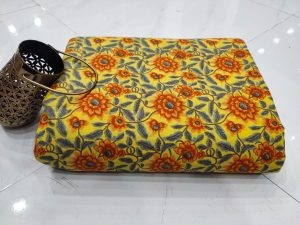 Traditional yellow pure cotton running material set