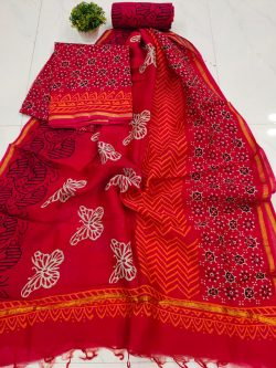 Superior quality Red pure chanderi suit set