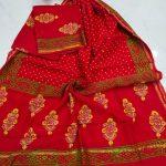 Red floral mugal print Chanderi suit set with salwaar