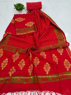 Red floral mugal print Chanderi suit set with salwaar